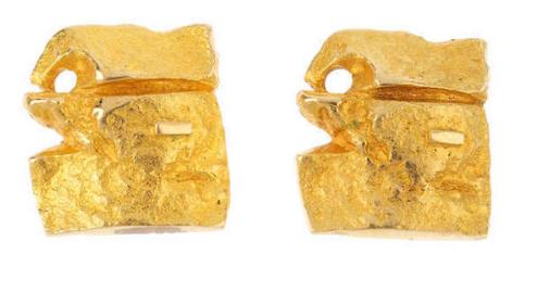 Lapponia, paire de boucles d'oreilles en or jaune, années 1960