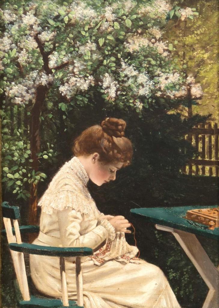 Maler des 19. Jahrhunderts - Junge Frau mit einer Handarbeit unter einem Kastanienbaum sitzend, Öl/Eichenholzplatte Limit: 900 EUR