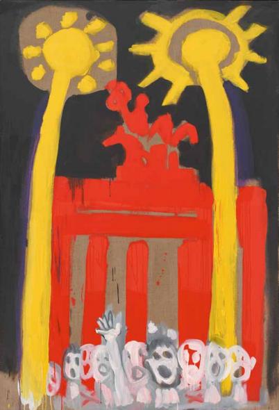 BRANDENBURGER TOR, 1990 Kunstharz/Lwd., 190 x 130 cm