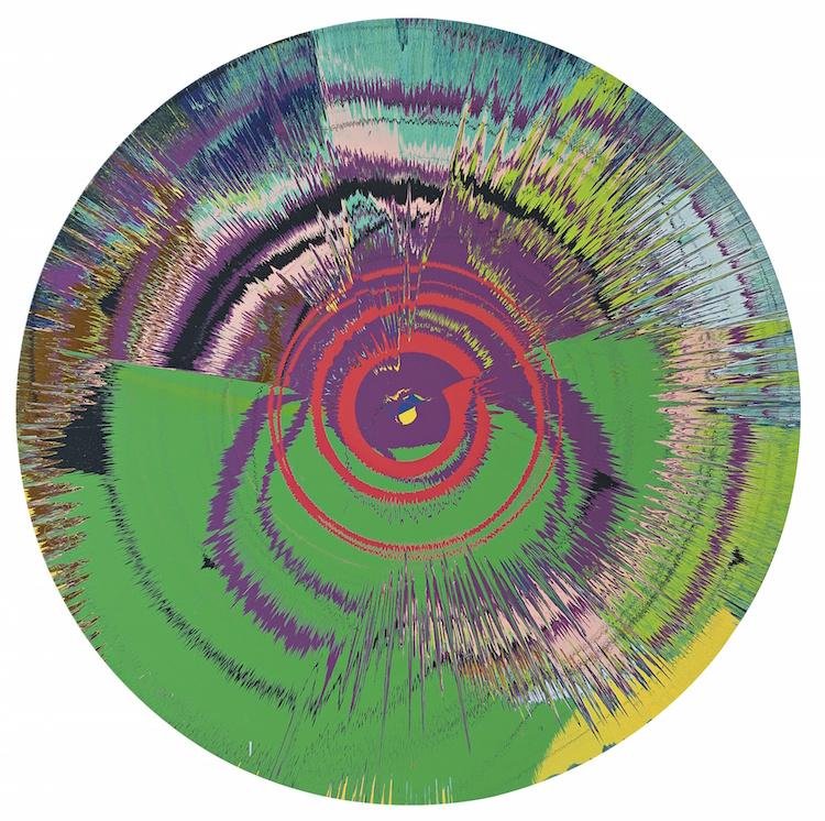 Damien Hirst och David Bowie har skapat verket, Beautiful, Hallo, Space-boy Painting. Målningen från 1995 ropas ut för 2,8-4 miljoner kronor