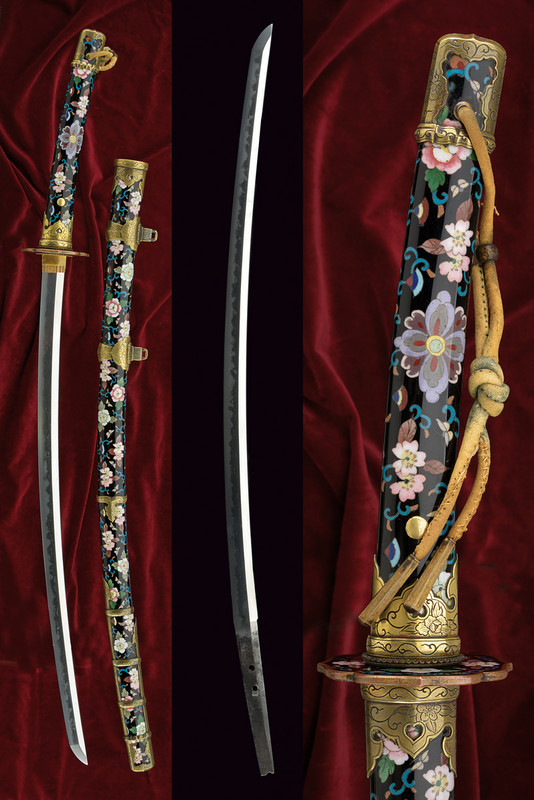 Tachi with Koshirae, decorated with cloisonne enamel, Japan, Kamakura period (1185-1392)