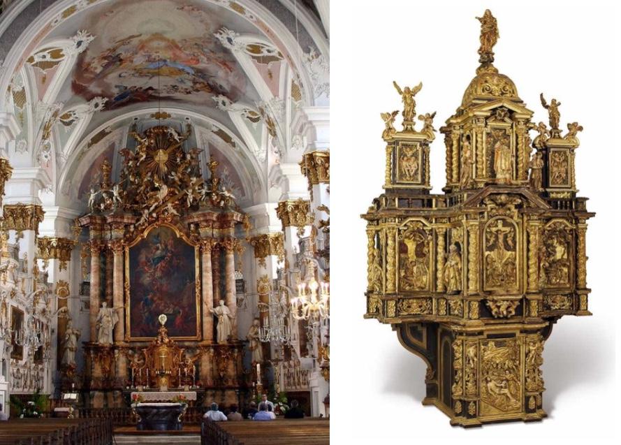 Musealer Altaraufsatz mit reichen architektonischen Elementen, teilw. vergoldet, Friaul Mitte 17. Jh. Schätzpreis: 25.000 EUR