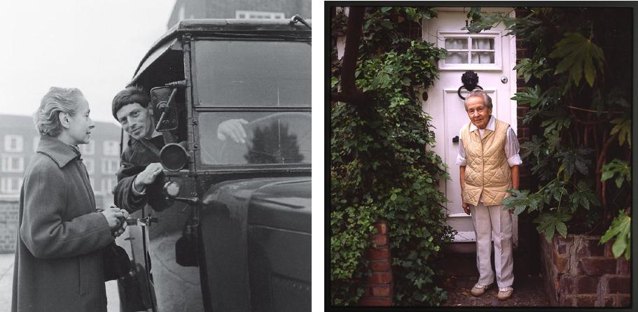 Links: Lucie Rie und Hans Coper Rechts: Lucie Rie vor ihrem Haus 18 Albion Mews, in dem sie 50 Jahre lang lebte und arbeitete | Fotos via cfileonline.org und casswebsite.org