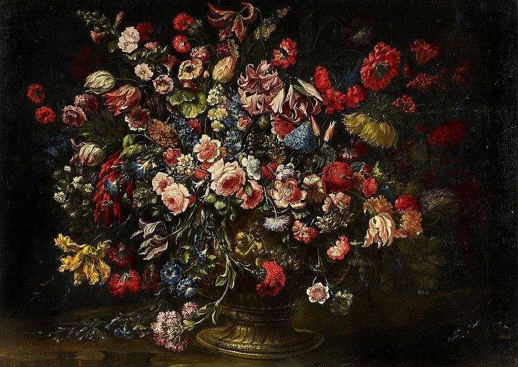 Rosor, tulpaner, liljor och andra blommor i bronsvas, av Andrea Scacciati. Utrop: 1 410 000 SEK Lempertz