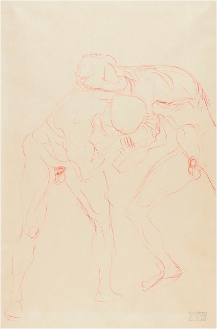 """Gustav Klimt, """"Zwei Ringende Mannerakte"""", 1904-05 Bild: Sotheby's."""