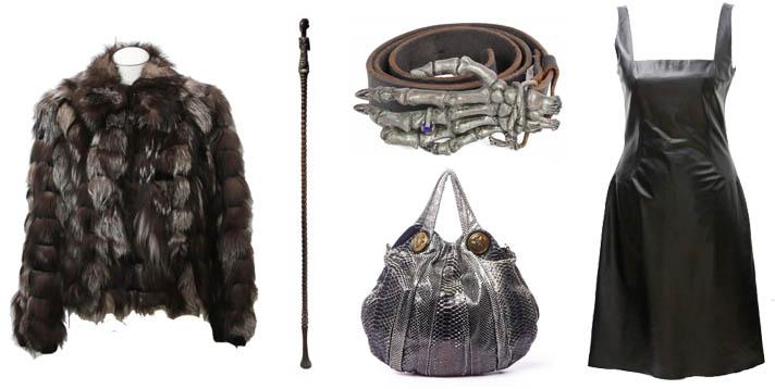 Manteau de fourrure Bonnie - Eppli online shop Canne de chef Luba - Christie's Sac en python - Delicate Vintage Ceinture squelette en cuir - Julien's Auctions Robe en cuir - Eppli online shop