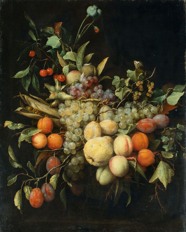 """Joris van Son 1623 – Antwerp – 1667 A GARLAND OF FRUITS IN FRONT OF A STONE RELIEF First half the 1650s. Oil on canvas. 74,5 x 59 cm (29 ⅜ x 23 ¼ in.) Inscribed in the centre: I VAN SON .F. / in red chalk on the stretcher: 689 / in pencil: van Berchem. Accompanied by a certificate by Max J. Friedlaender, Berlin, dated 19 April 1929, where described as """"ein signiertes Werk von Jan van Son"""" (in the original). - Relined, trimmed in the right margin. [3001] Framed EUR 12.000 – 15.000 US $ 13,400 – 16,700 We would like to thank Fred Meijer, The Hague, for the attribution. Provenance: Walter Louran (born 1871), Berlin / 1936 collection Frieda Hinze, Berlin / collection Elisabeth Rode, Berlin. Source, collection Rohde-Hinze: receipt Walter Louran, Rheinland-Galerie, Berlin, 30 October 1936, acquired from his private collection, 600 RM"""