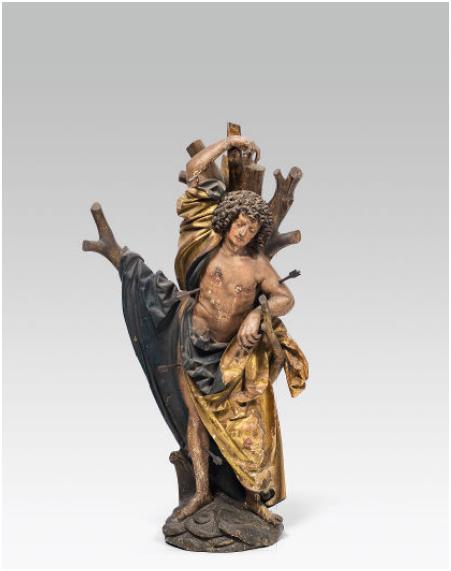 Hl. Sebastian, Holz, alte Fassung, H: 117 cm, Tirol um 1520 Rufpreis: 10.000 EUR