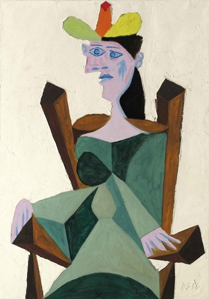 Pablo Picasso, Femme assise sur une chaise, 1938, oljemålning. Bild via Sotheby's