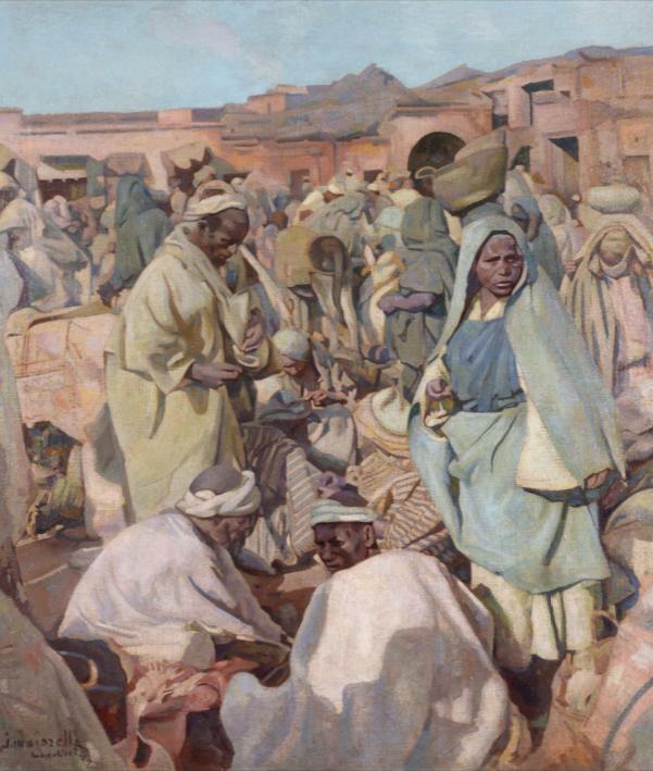 Jacques Majorelle Scène de marché à Marrakech  Huile sur toile