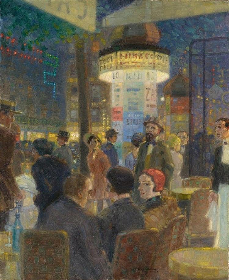 MAX SCHLICHTING. Boulevardcafé in Paris. Firmado (1927)