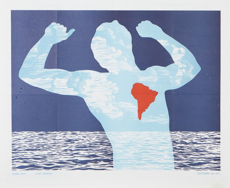 "Olof Sandahl, ""Dagen gryr"", 1977, offsettryck. Via Stockholms Auktionsverk."