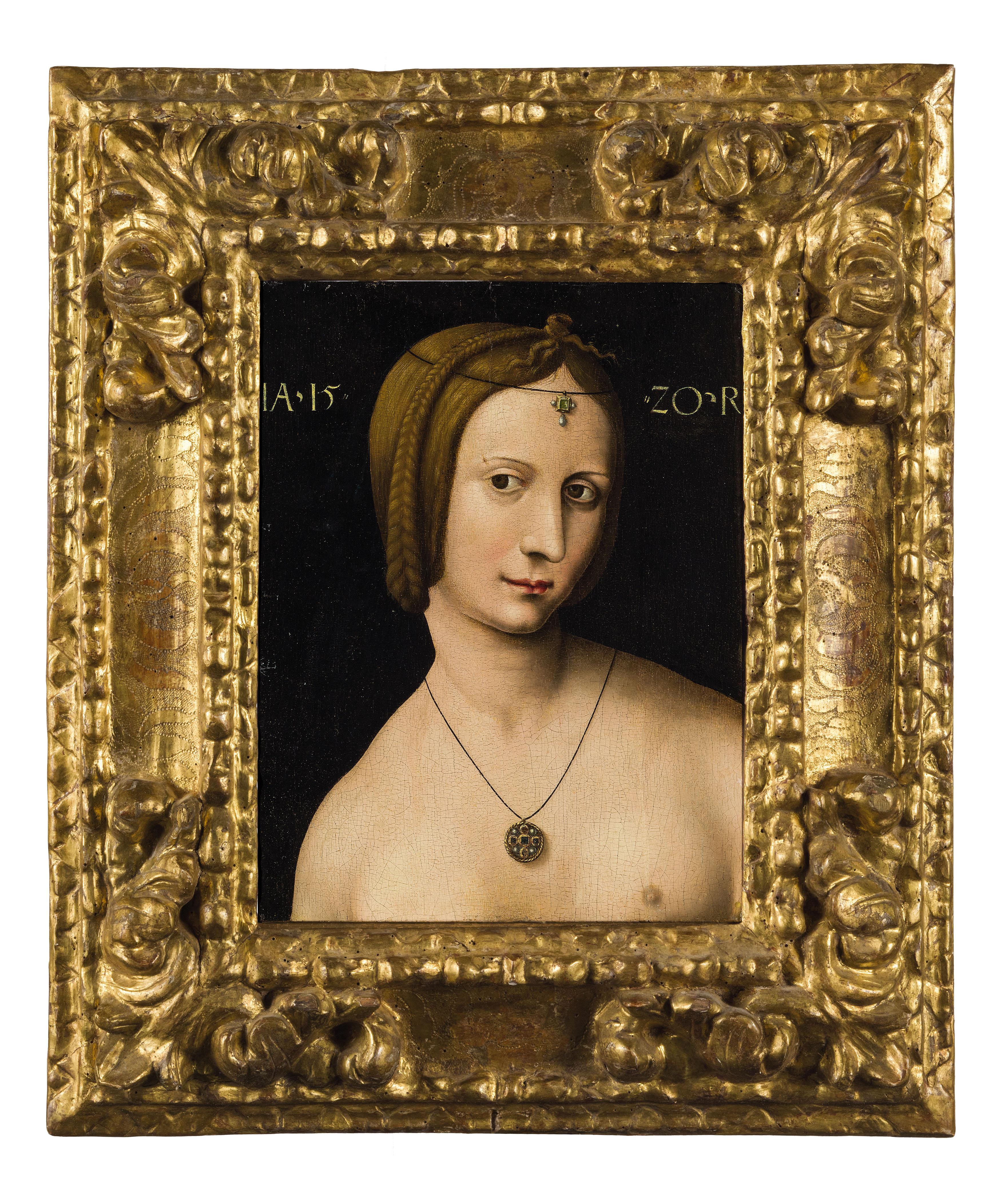 AMBROSIUS BENSON (1495/1500 Lombardei - 1550 Brügge) - Weibliche Figur, Öl/Lwd., 1520