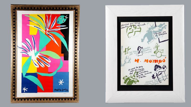 """T.v. Henri Matisse """"Danzante"""". Litografi, daterad och signerad dykning huvudet. Nr 5/150. T.h. Mompó Hernandez Manuel (1927-1992). """"Composition"""". Litografi färg."""