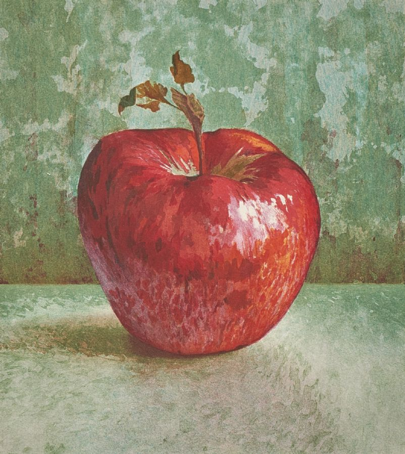 Färglitografi. Maria Boczewska (f. 1940), Äpple, 311/360, motivet: 27x24. Utrop: 800 Sek. Metropol Auktioner