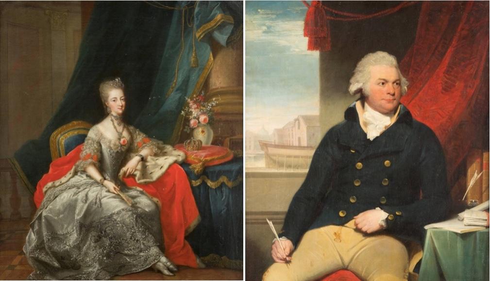 Links: JOHANN HEINRICH TISCHBEIN (1722 Haina - 1789 Kassel) - Landgräfin Philippine von Hessen-Kassel, geborene Prinzessin von Brandenburg-Schwedt (1745-1800), Öl/Lwd., 1774 Rechts: SIR THOMAS LAWRENCE (1769 Bristol - 1830 London) - Portrait eines Gentleman - vermutlich des William Layman (1768-1826), Öl/Lwd.
