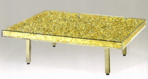 Table Monogold™ (Table or), Yves KLEIN Feuilles d'or et plexiglas Galerie Omagh