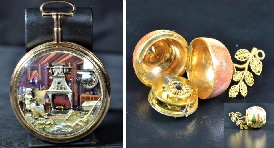 Links: ROBERT ET COUTVOISIER - Taschenuhr mit 4 Automationen und Gangreserve Startpreis: 64.000 EUR Rechts: Louis XVI-Taschenuhr aus Gold und Emaille in Form eines Apfels Startpreis: 1.200 EUR