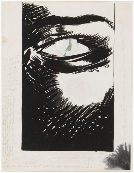 RAYMOND PETTIBON (1957 Tucson) - The eyes get the first contact. But Im a man at heart ..., Tusche, Collage auf Papier, 49,3 x 38 cm, signiert und datiert, 2004 Schätzpreis: 25.000-35.000 EUR Rufpreis: 12.000 EUR