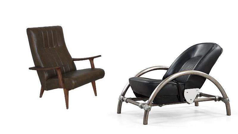 """T.v. Proveniens : hôtel. Dimension, inrett av Pierre Paulin. Marseille Antiquités. T.h. Ron Arad, Fåtölj """"Rover chair"""", För one off ltd, London 1980-tal. Bukowskis."""