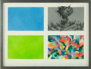 Matinee, 2015. Peinture en spray, pastel et pierre noire sur papier. 24 x 32 cm. Signé au dos.