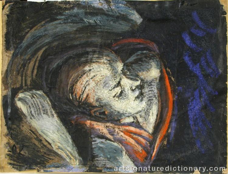 Förfalskad målning av Oskar Kokoschka. Bild: Art Signature Dictionary (ASD)