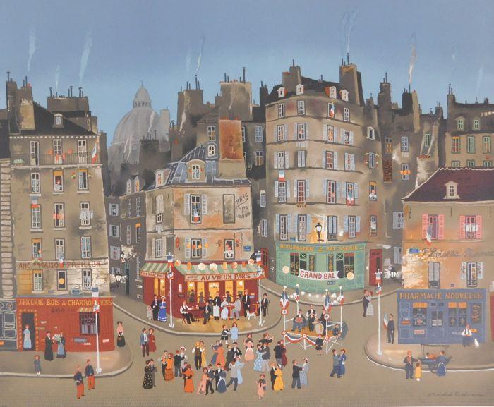MICHEL DELACROIX (*1933) - Au Vieux Paris, Lithografie, signiert