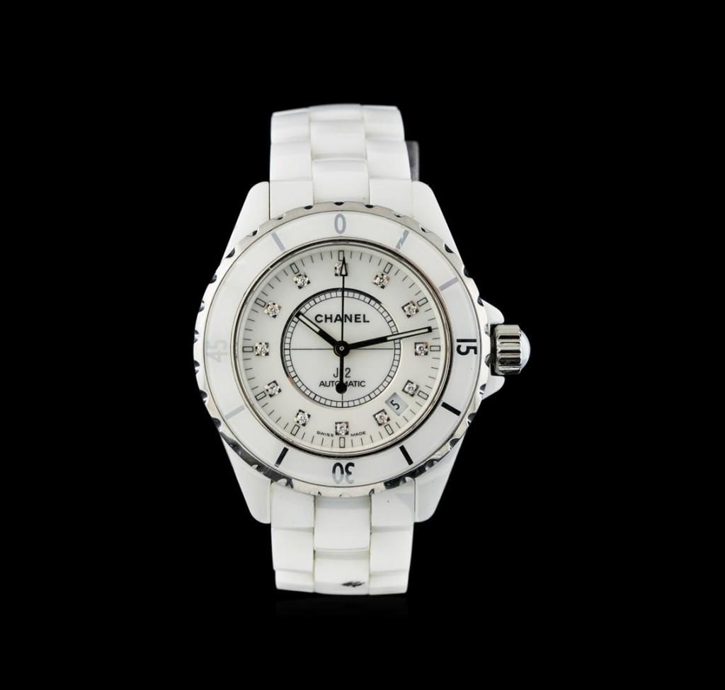 Chanel White Ceramic Diamond J12 WatchAuction begins January 22