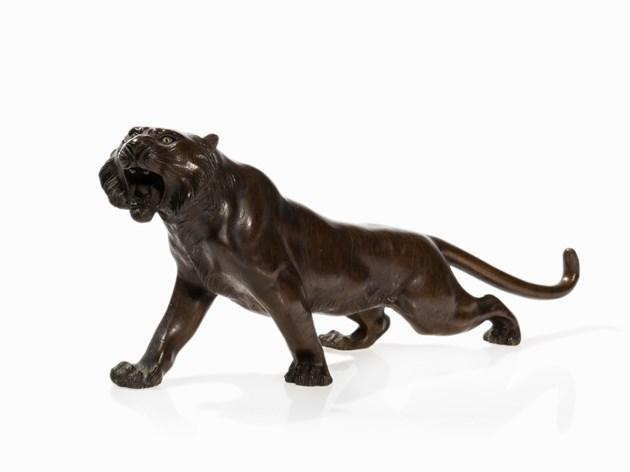 Tigre en bronze, ère Meiji Estimation basse: 800 €