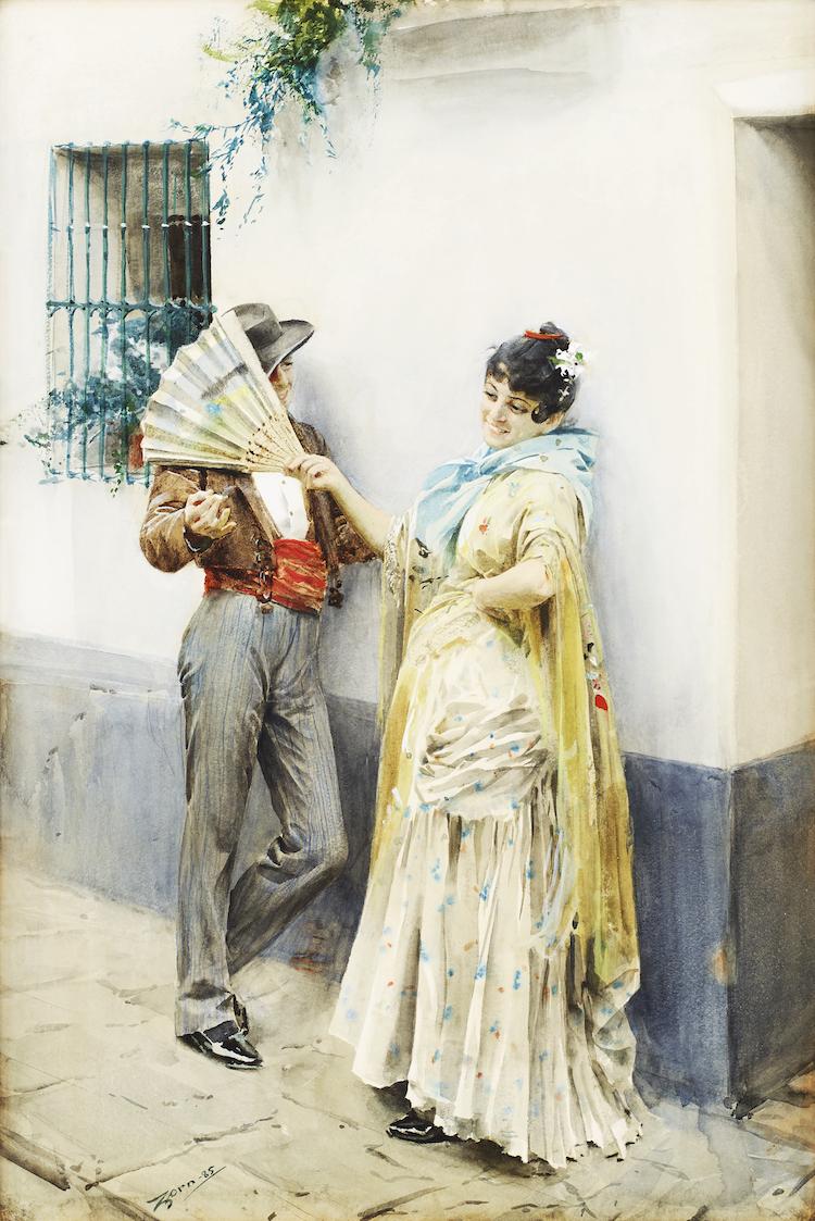 """""""Har nu i sista stund börjat med en spansk 'flirtation' som artar sig ypperligt, skrev Anders Zorn hem till sin fästmö Emma Lamm i ett brev den 20 mars 1885"""