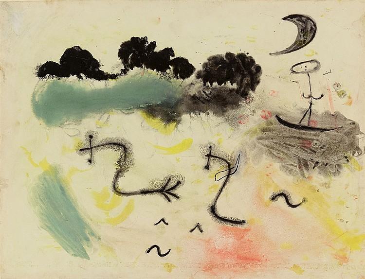 JOAN MIRÓ (1893 Barcelona - 1983 Palma de Mallorca) - Souvenir du Parc Montsouris, Gouache u. Tusche/Zeichenpapier, betitelt und signiert, 1937