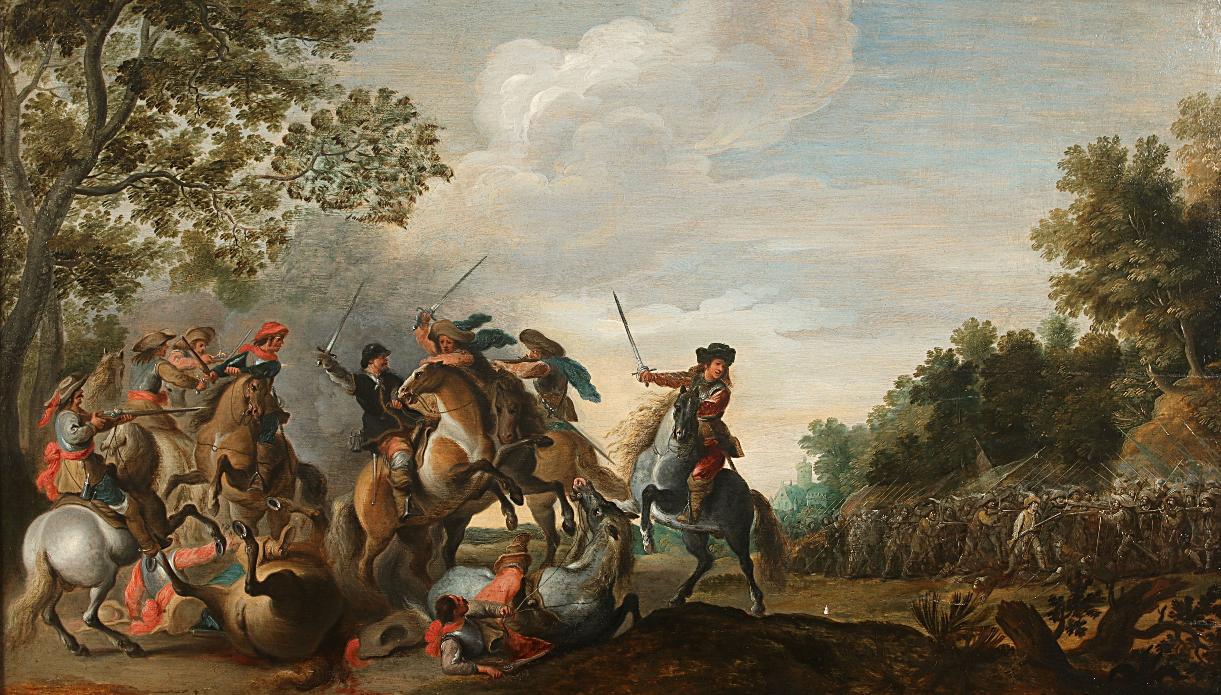 Pieter Meulenaer, A Cavalry Engagement, oil on panel. Photo: Hessink's