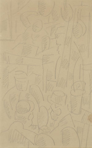 Fernand Legér. Dessin du front pencil on paper. Executed circa 1915 - 1916. Utropspris 222 000 SEK. Bonhams