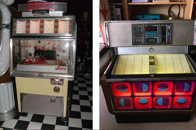 Links: JENSEN - Jukebox, 1950 Rechts: AMI, Jukebox, 1970er Jahre