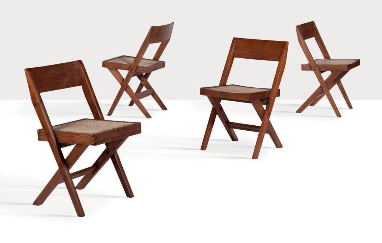 Pierre Jeanneret, suite de six chaises Library
