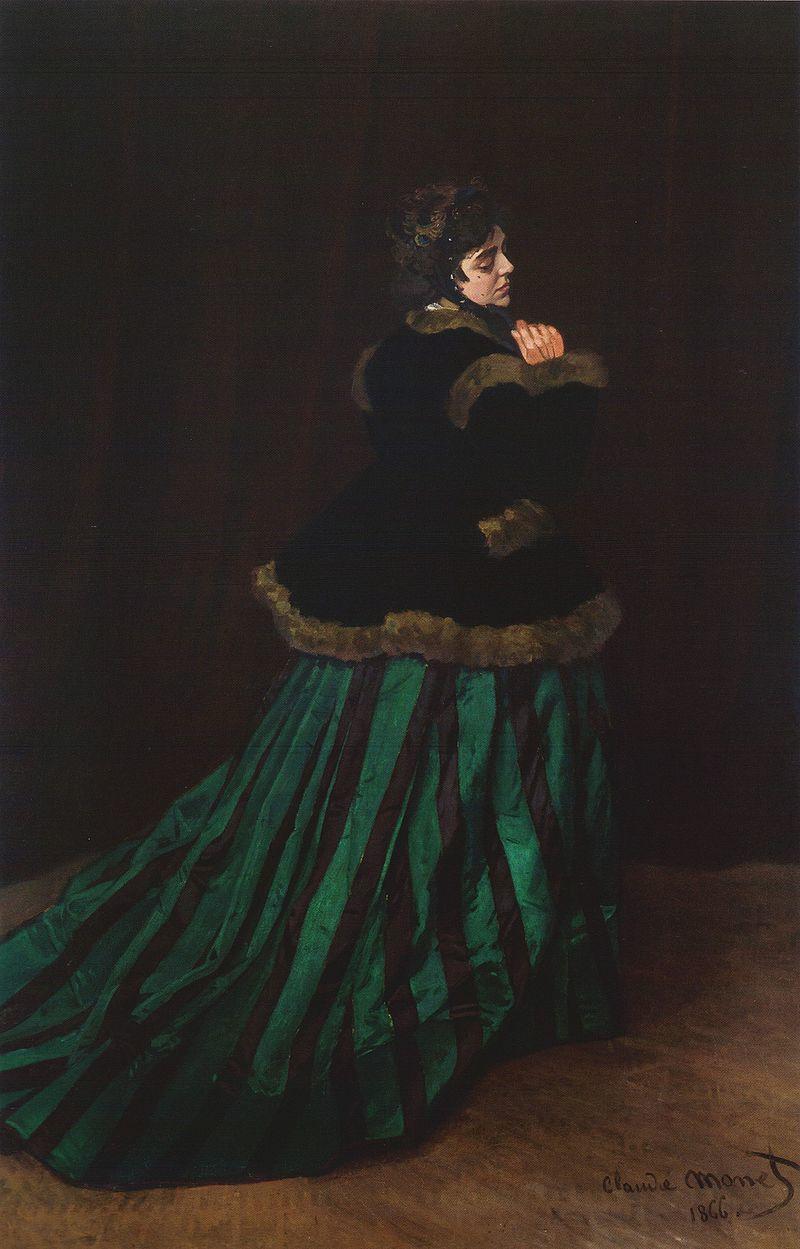 Claude Monet, Femme à la robe verte, 1866, collection of Kunsthalle Bremen