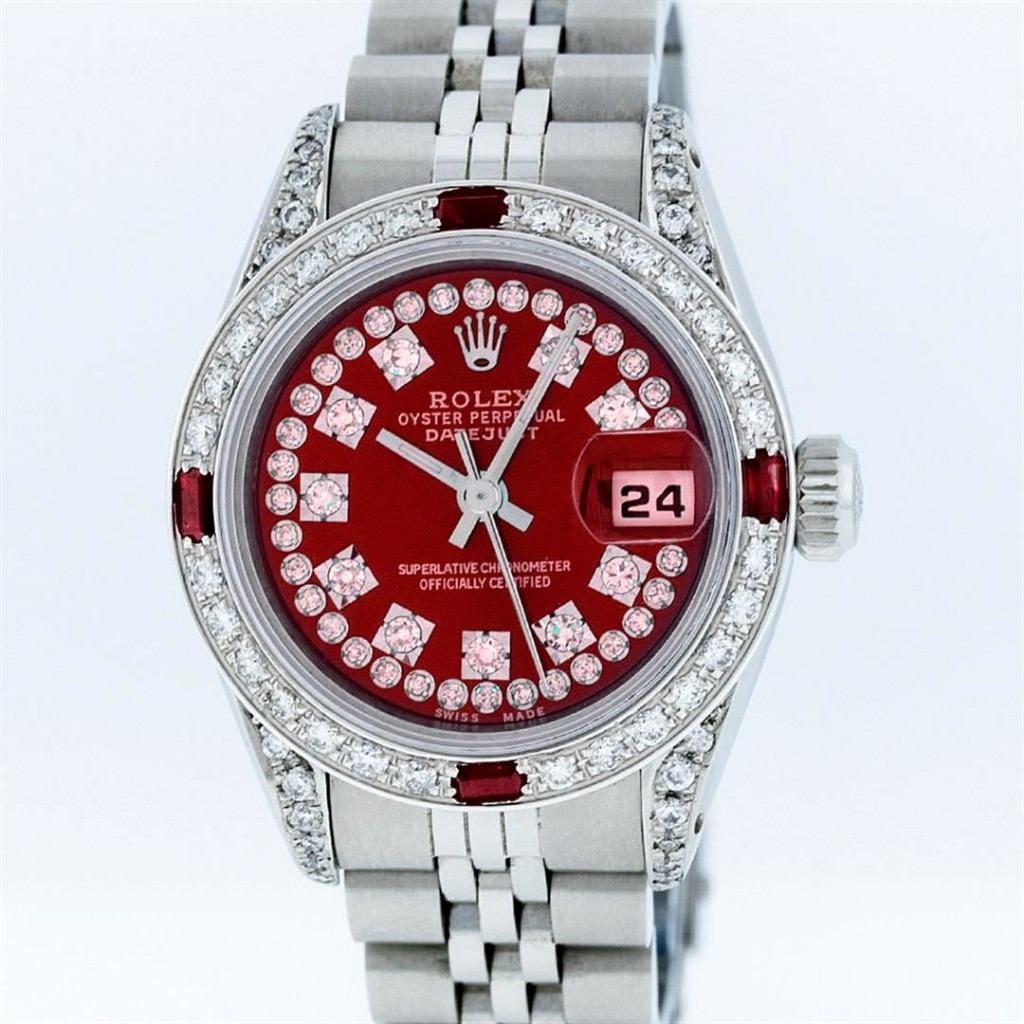 Rolex Stainless Steel Red String Diamond VVS DateJust Ladies WatchAuction begins on January 22