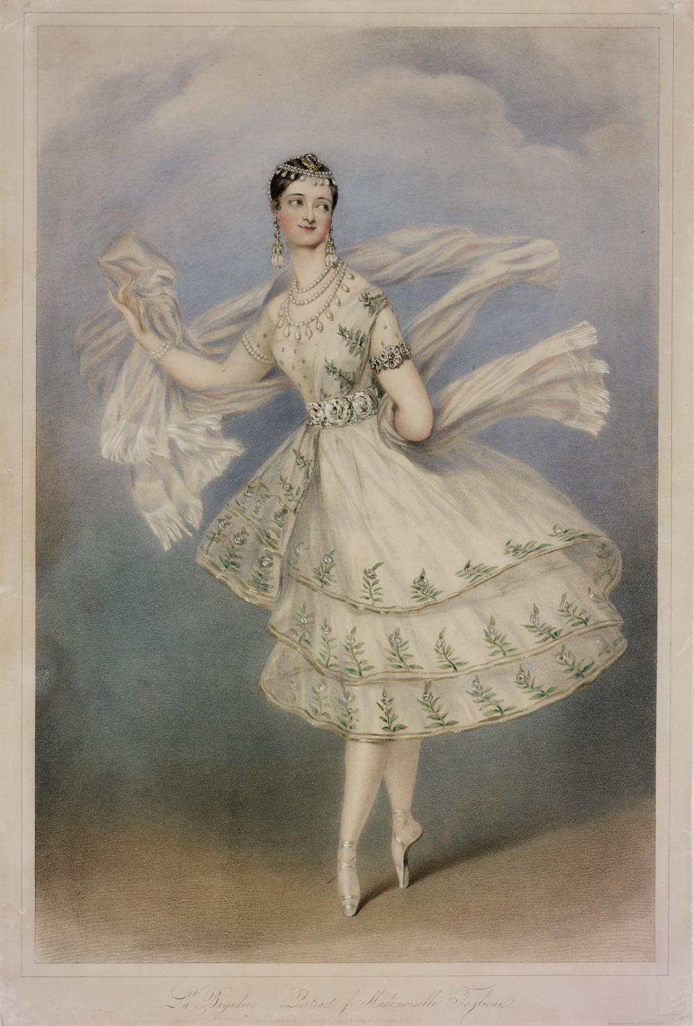 Marie Taglioni as Bayadère, coloured lithograph, 1831. V&A Museum.