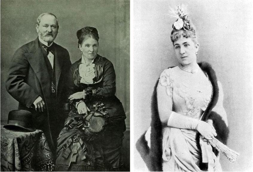 Gustav Fabergé und seine Frau Charlotte (links) und Augusta Julia Jacobs Fabergé (rechts) | Fotos via Wikipedia und Universal Compendium