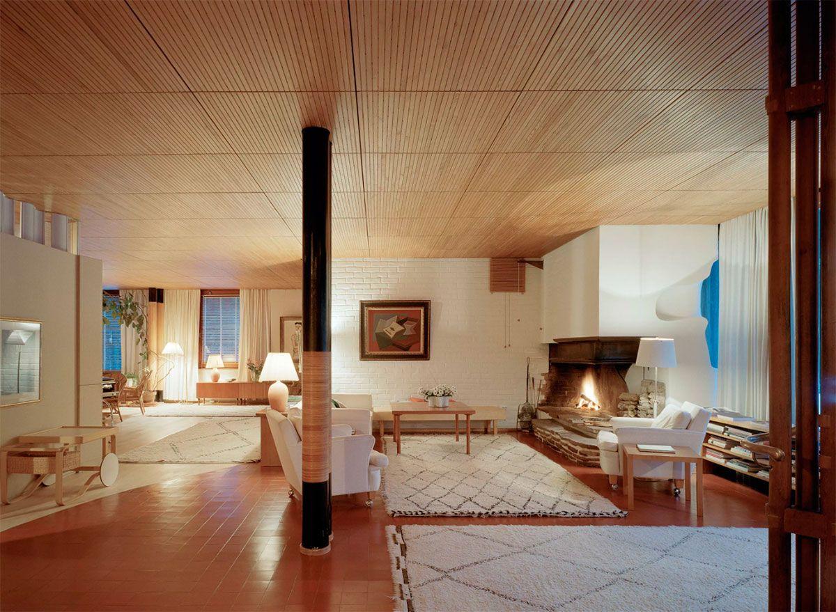 Vardagsrummet i Villa Maeira. Foto: aalvaraalto.fi.