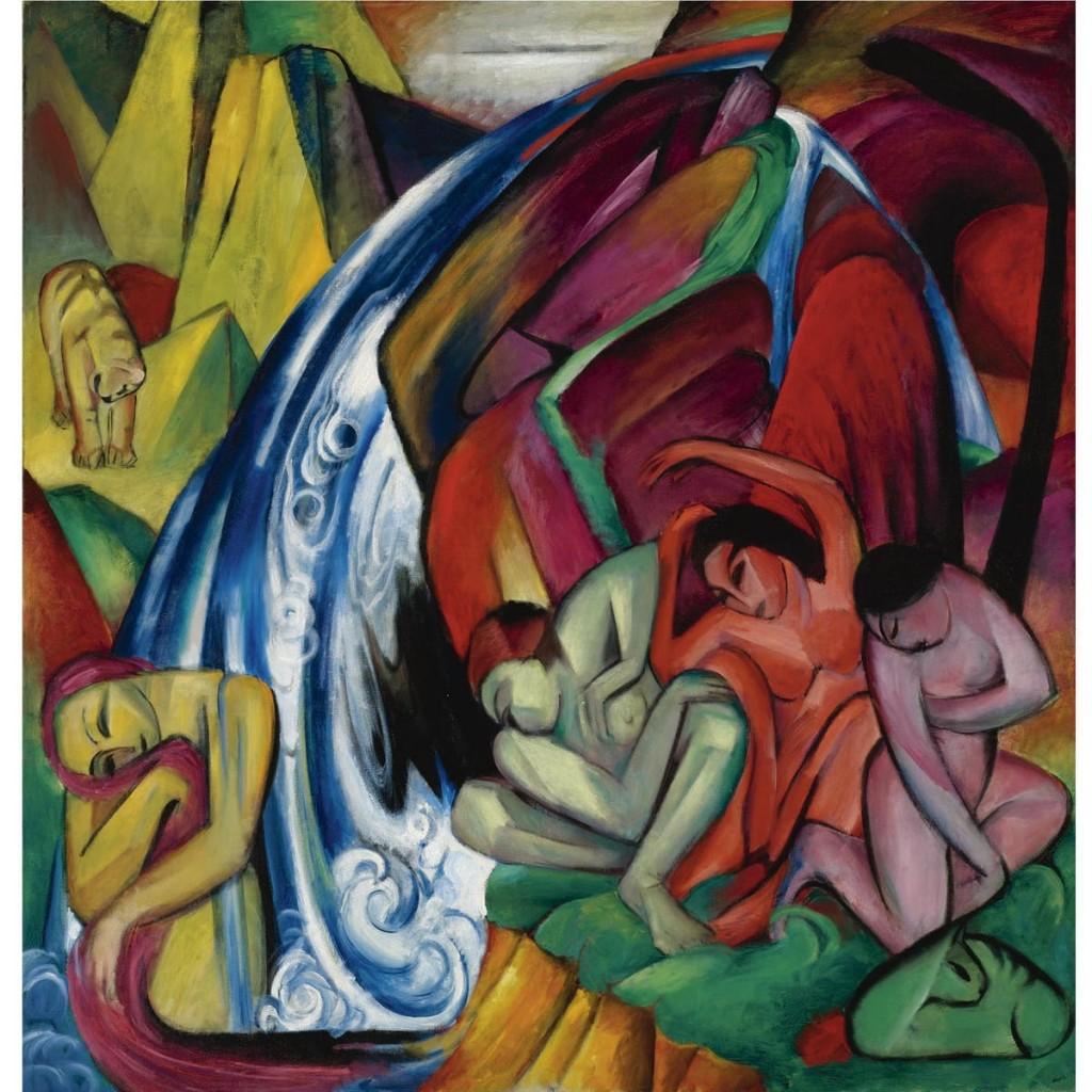 FRANZ MARC (1880-1916) - Der Wasserfall (Frauen unter einem Wasserfall), 1912 | Abb.: Sotheby's