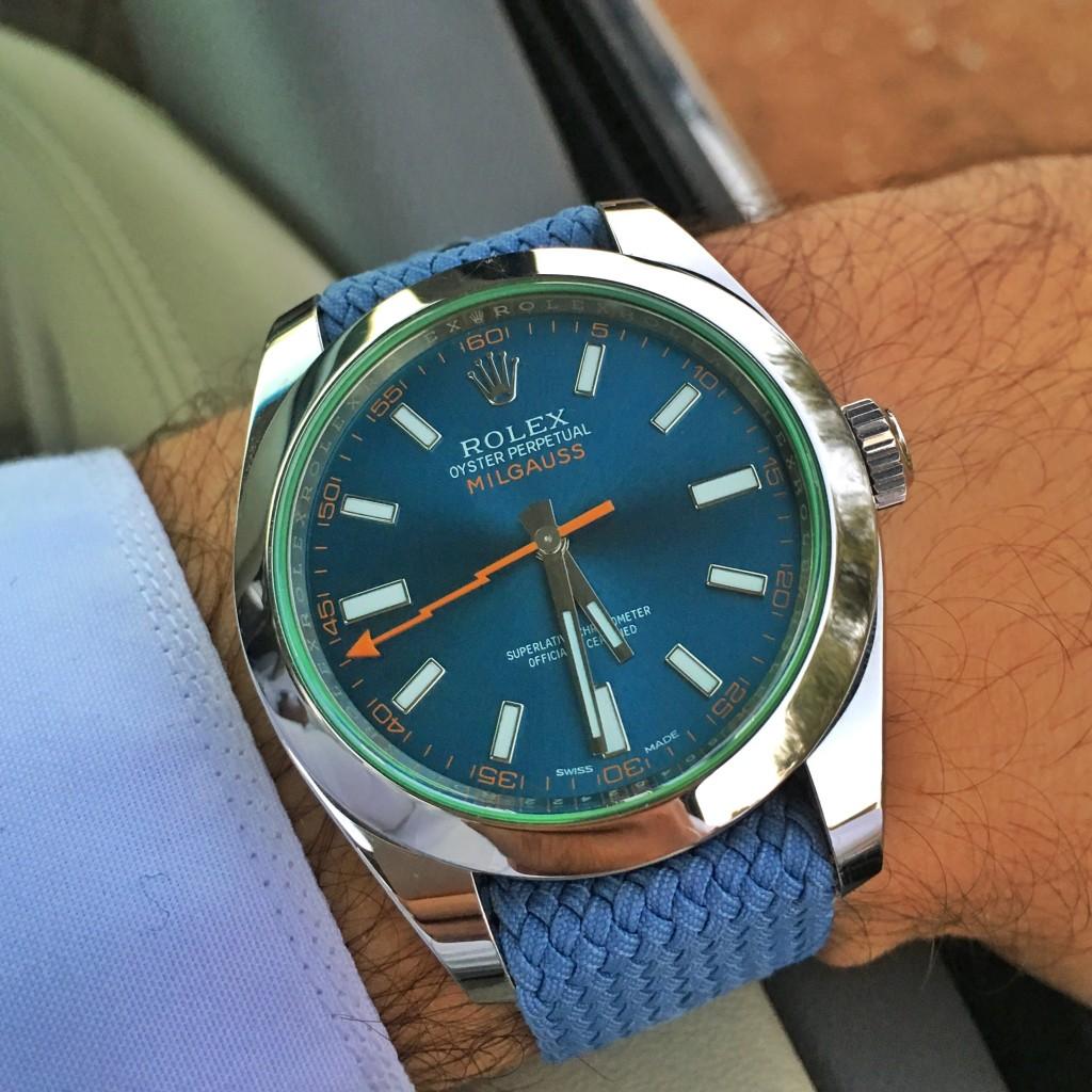 Todays Wristshot: Rolex Milgauss on a blue perlonstrap(photo:whatchsdotcom)!