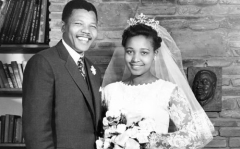Nelson and Winnie Mandela at their wedding, Photo: myjoyonline