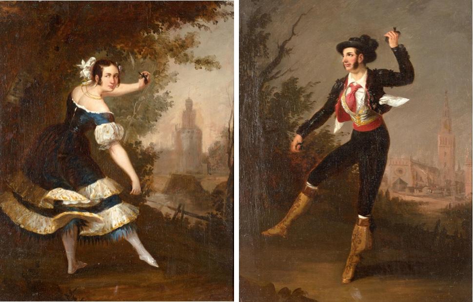 ANTONIO CABRAL Y BEJARANO (1798 - 1861) - Tanzpaar mit Ansichten von Sevilla im Hintergrund, Öl/Lwd., 52 x 40 cm, signiert Startpreis: 5.000 EUR