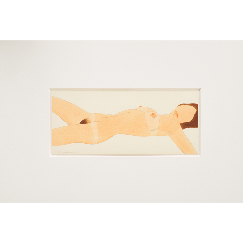 """Tom Wesselmann - Open Ended Nude (Variable Edition), 1972; Thinned Liquitex and graphite on Bristol board (framed); Signed and dated; Edition 31; 3 3/4"""" x 9"""" (sheet). Est. $25,000 – 35,000"""