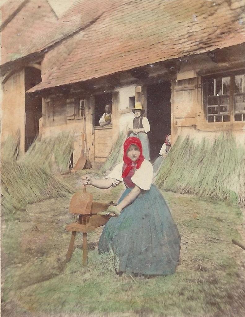 Ludovico Wolfgang Hart - Bäuerin in Baldingen auf der Baar beim Flachsbrechen, 1864