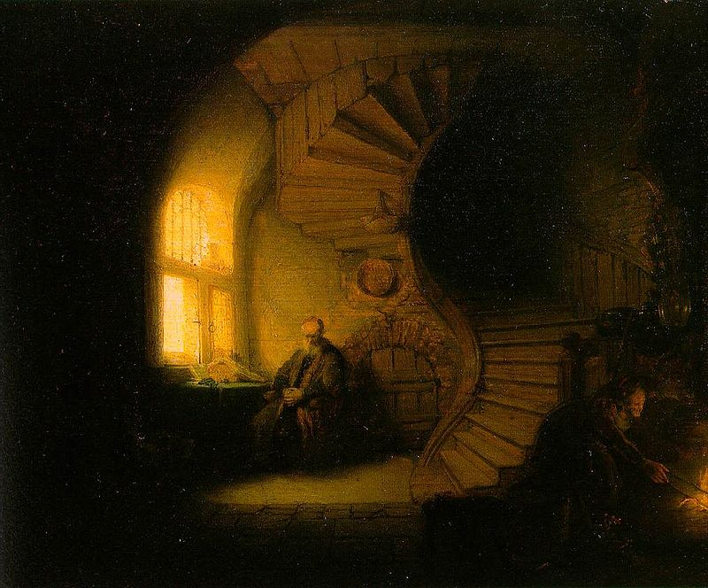 Philosopher in Meditation (or Interior with Tobit and Anna) by Rembrandt