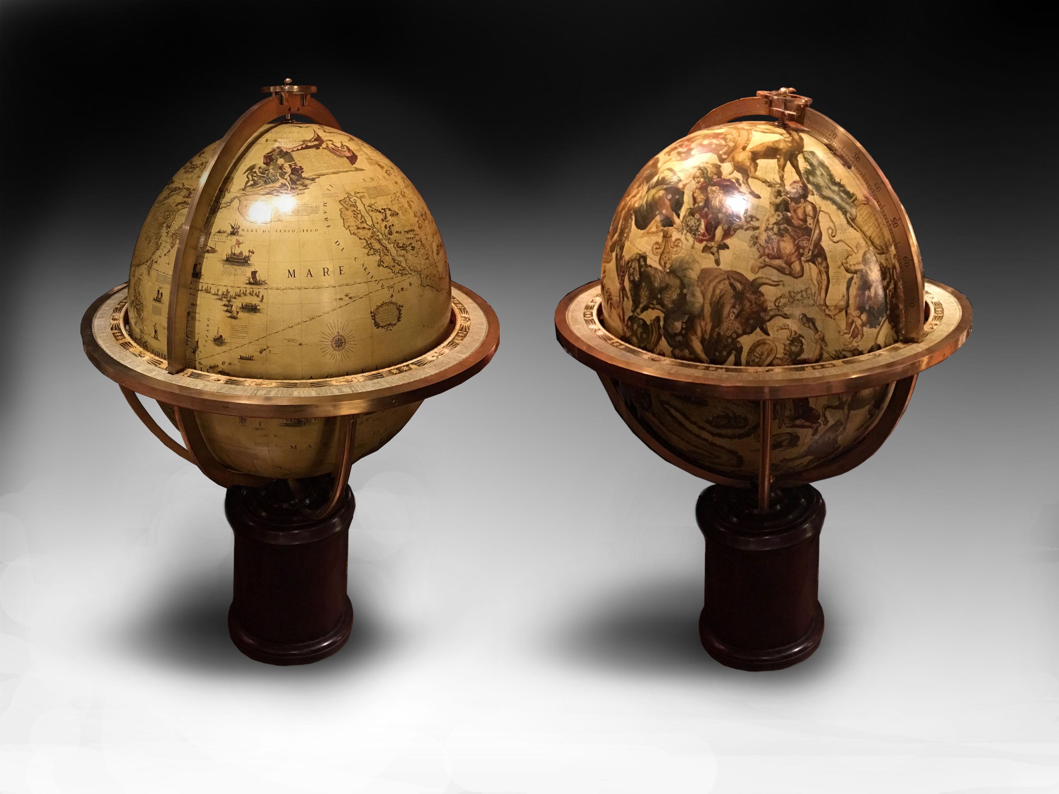 Globes Coronelli « Terrestres et Célestes », 1688 et 1693, image via Globemakers.com