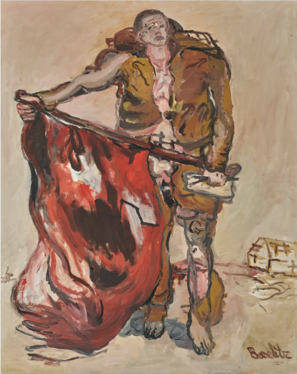 GEORG BASELITZ (*1938 Deutschbaselitz) - Mit roter Fahne, 1965 Sotheby's