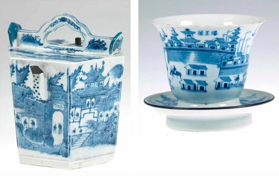 Links: 6-kantige Qianlong-Teekanne Rechts: Tasse mit Untertasse, China, Qing-Dynastie